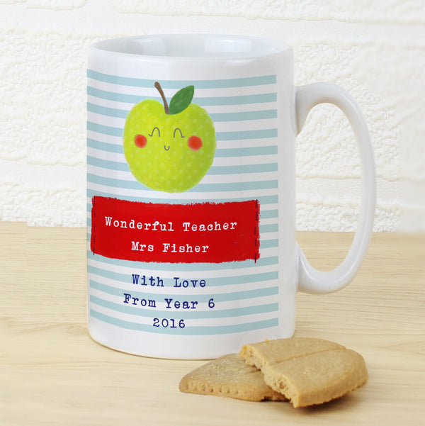 Personalised Apple for the Teacher Slim Mug with personalised name