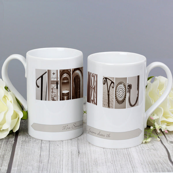 Personalised Affection Art Any Message Slim Mug lifestyle image