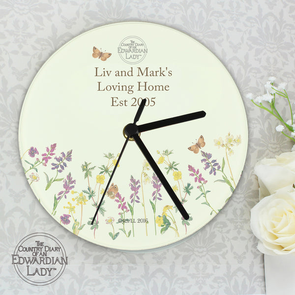 Personalised Country Diary Wild Flowers Glass Clock white background