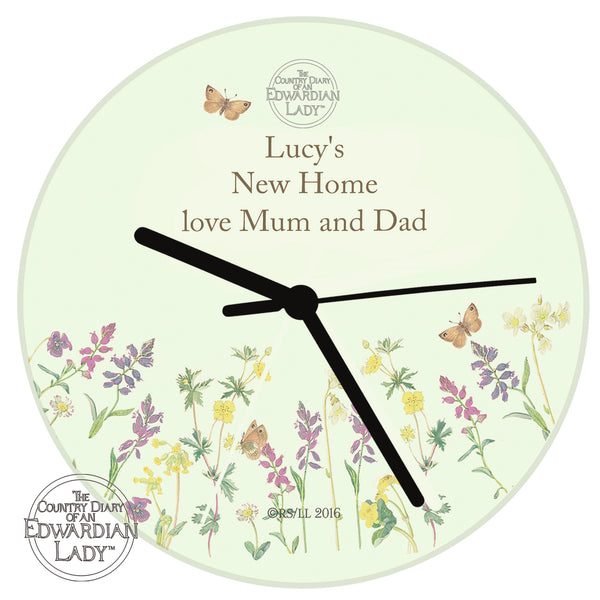 Personalised Country Diary Wild Flowers Glass Clock from Sassy Bloom Gifts - alternative view