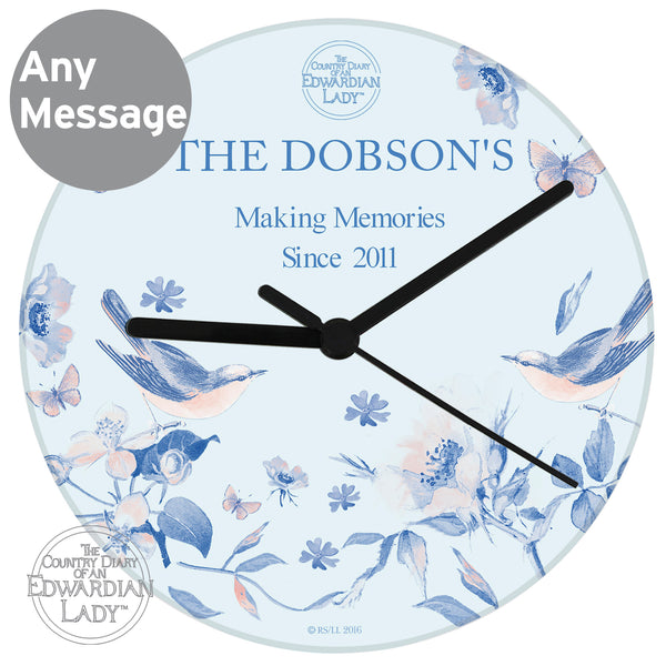 Personalised Country Diary Blue Blossom Glass Clock from Sassy Bloom Gifts - alternative view