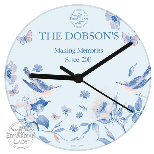 Personalised Country Diary Blue Blossom Glass Clock lifestyle image
