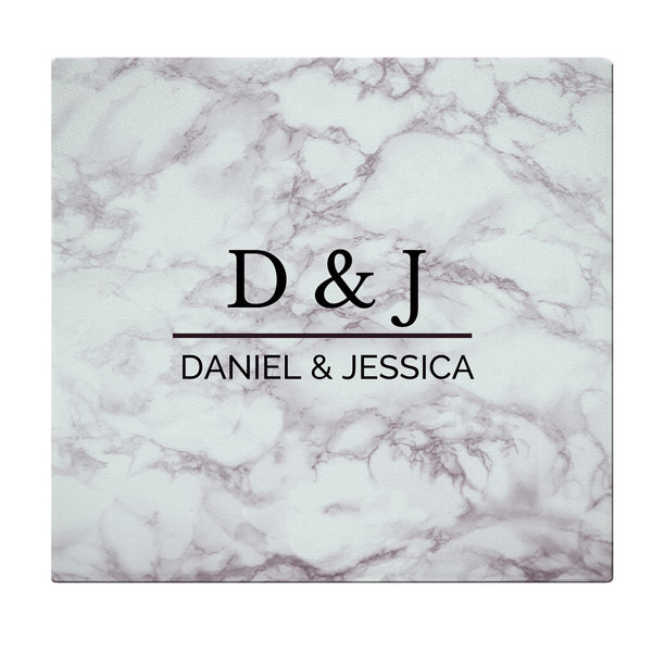 Personalised Marble Effect Glass Chopping Board/Worktop Saver white background