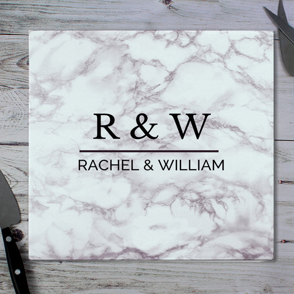 Personalised Marble Effect Glass Chopping Board/Worktop Saver from Sassy Bloom Gifts - alternative view