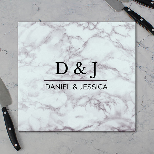 Personalised Marble Effect Glass Chopping Board/Worktop Saver lifestyle image
