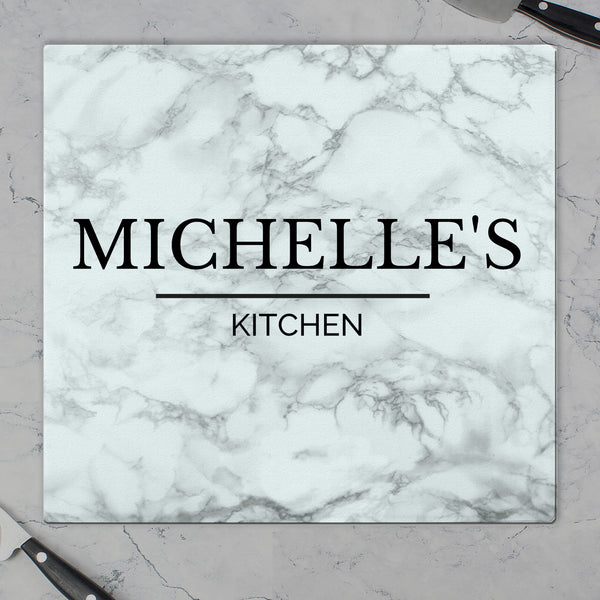 Personalised Marble Effect Glass Chopping Board/Worktop Saver with personalised name