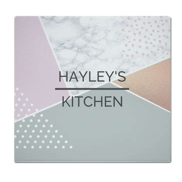 Personalised Geometric Glass Chopping Board/Worktop Saver white background