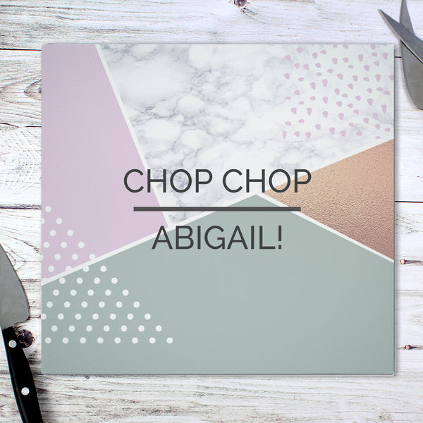 Personalised Geometric Glass Chopping Board/Worktop Saver from Sassy Bloom Gifts - alternative view