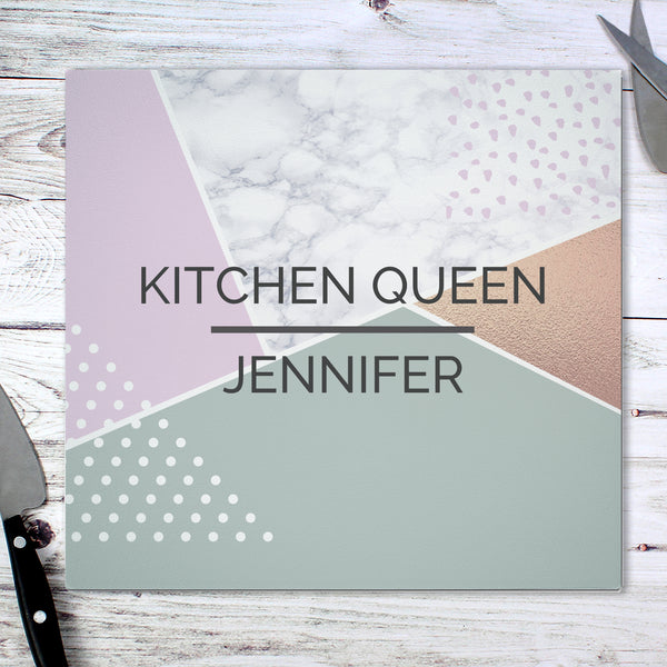 Personalised Geometric Glass Chopping Board/Worktop Saver lifestyle image