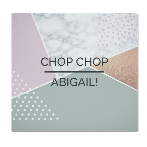 Personalised Geometric Glass Chopping Board/Worktop Saver with personalised name