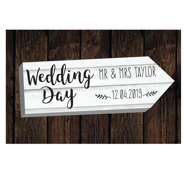 Personalised Wedding Day White Arrow Metal Sign white background