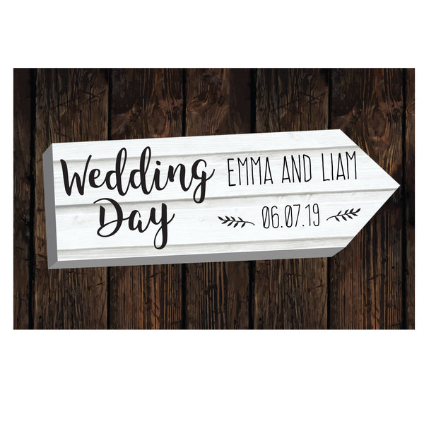 Personalised Wedding Day White Arrow Metal Sign lifestyle image