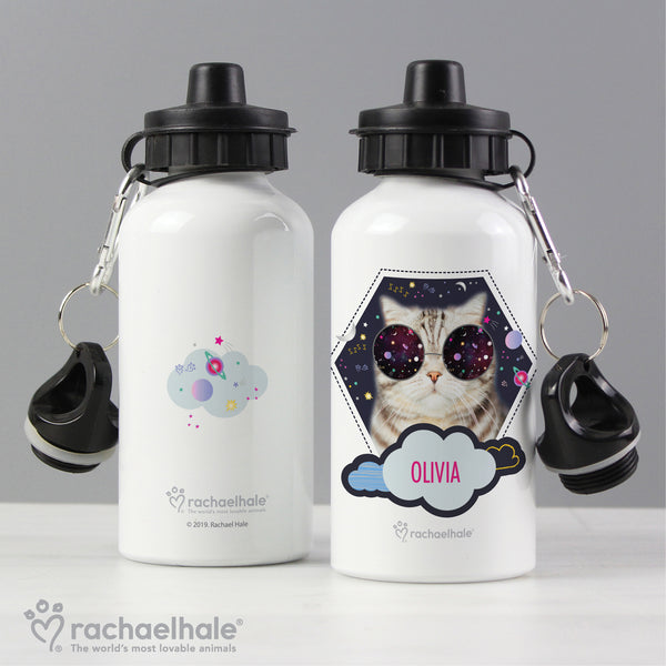 Personalised Rachael Hale Space Cat Drinks Bottle lifestyle image