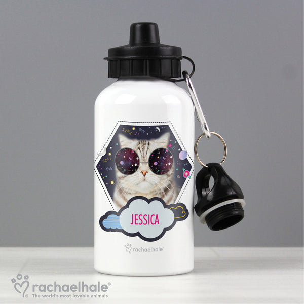 Personalised Rachael Hale Space Cat Drinks Bottle with personalised name