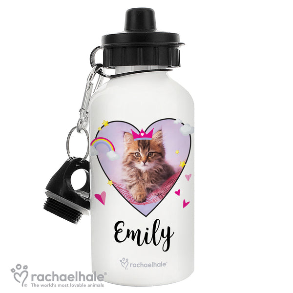 Personalised Rachael Hale Cute Cat Drinks Bottle white background