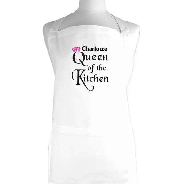 Personalised Queen of the Kitchen Apron white background