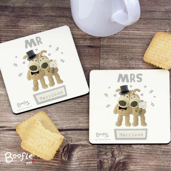 Personalised Boofle Wedding Coaster Set from Sassy Bloom Gifts - alternative view