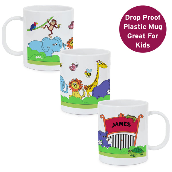 Personalised Zoo Plastic Mug white background