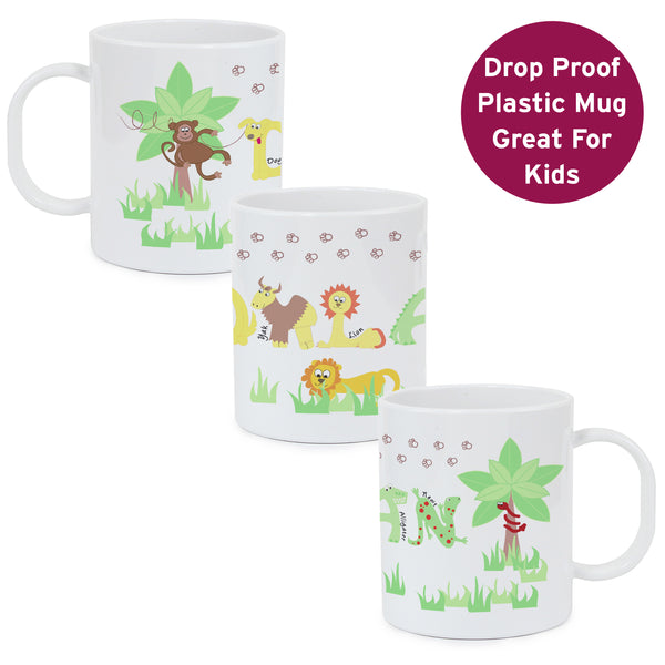 Personalised Animal Alphabet Plastic Mug white background