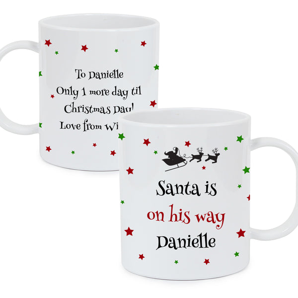 Personalised Christmas Eve Plastic Mug white background