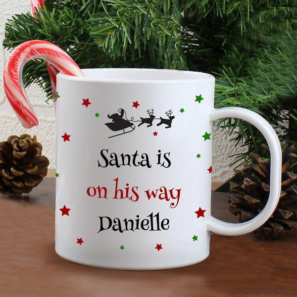 Personalised Christmas Eve Plastic Mug with personalised name