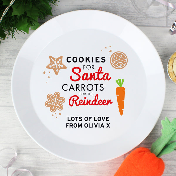 Personalised Cookies for Santa Christmas Eve Plastic Plate from Sassy Bloom Gifts - alternative view