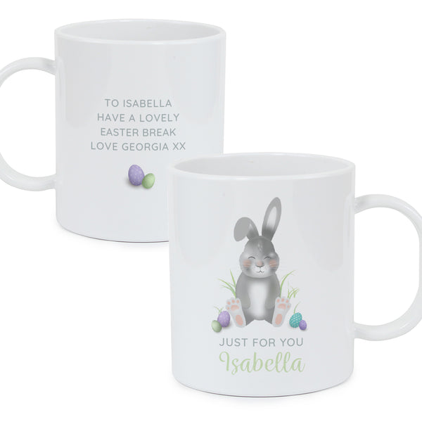 Personalised Easter Bunny Plastic Mug white background