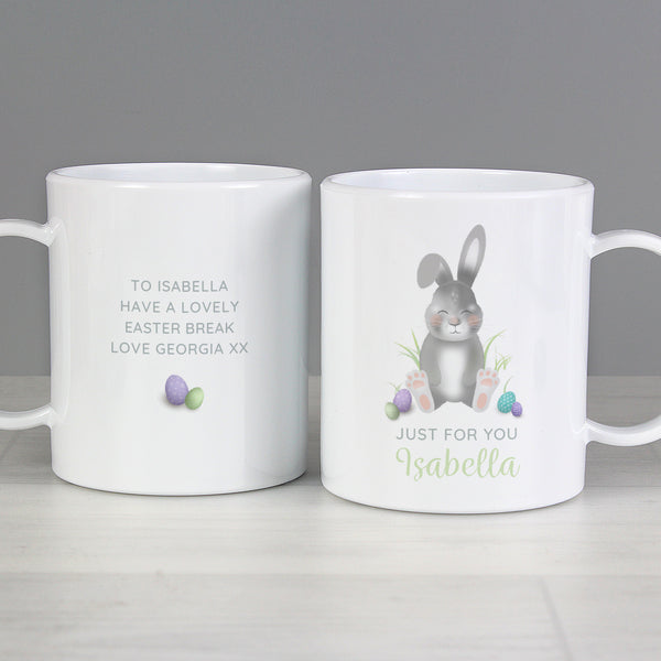 Personalised Easter Bunny Plastic Mug with personalised name