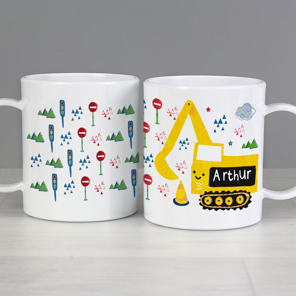 Personalised Digger Plastic Mug with personalised name