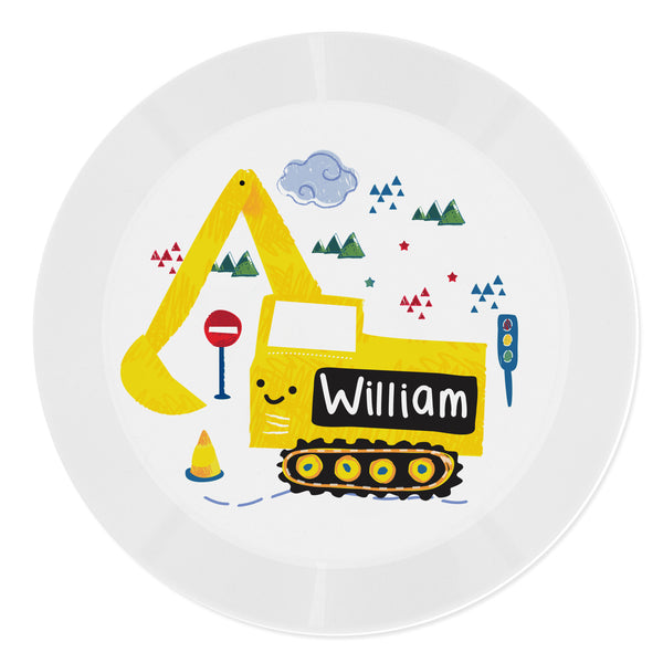 Personalised Digger Plastic Plate white background