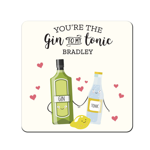 Personalised 'Gin to My Tonic' Coaster white background