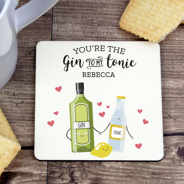 Personalised 'Gin to My Tonic' Coaster from Sassy Bloom Gifts - alternative view