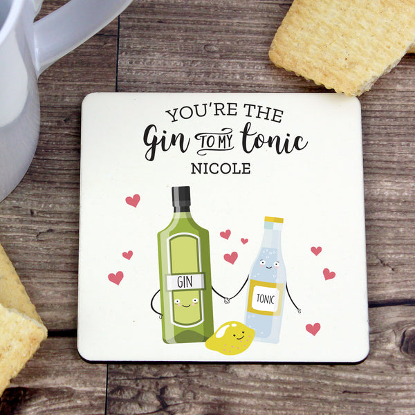 Personalised 'Gin to My Tonic' Coaster lifestyle image