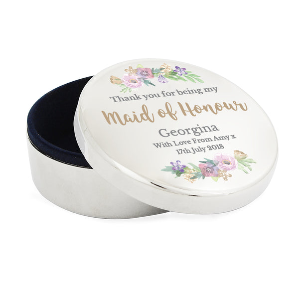 Personalised Maid of Honour 'Floral Watercolour Wedding' Round Trinket Box white background
