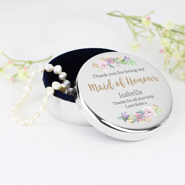 Personalised Maid of Honour 'Floral Watercolour Wedding' Round Trinket Box with personalised name