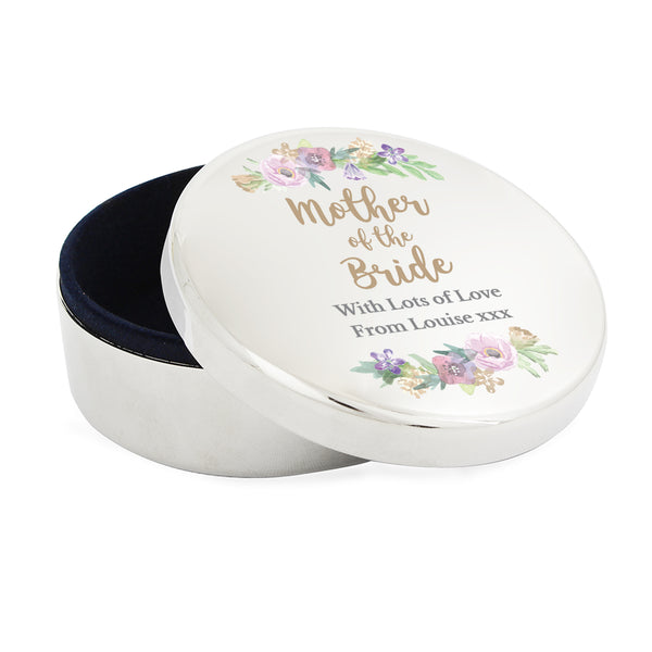 Personalised Mother of the Bride 'Floral Watercolour Wedding' Round Trinket Box white background