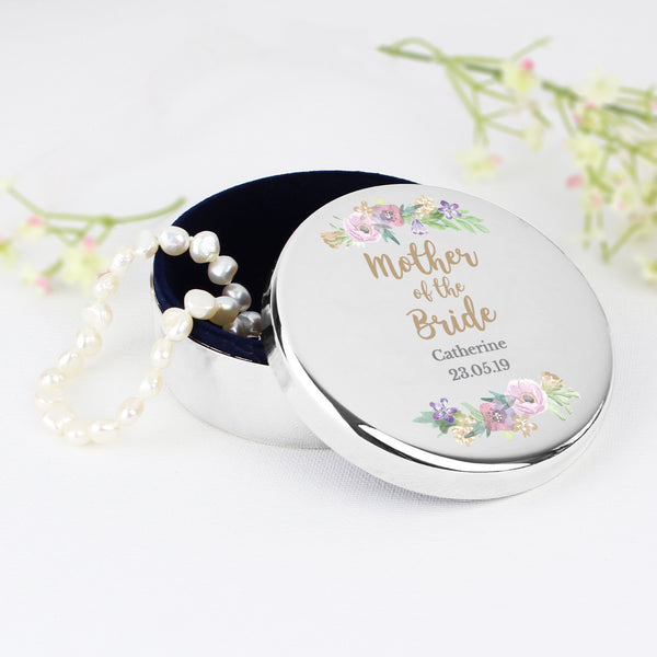 Personalised Mother of the Bride 'Floral Watercolour Wedding' Round Trinket Box with personalised name