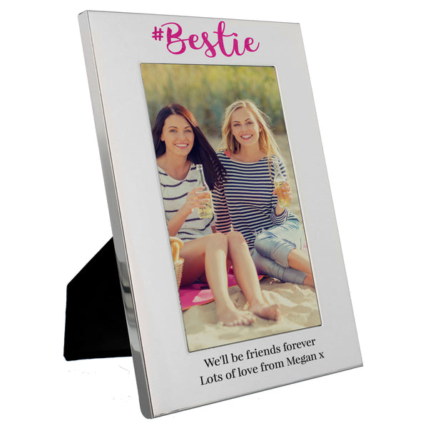 Personalised #Bestie 6x4 Silver Photo Frame white background