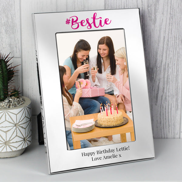 Personalised #Bestie 6x4 Silver Photo Frame from Sassy Bloom Gifts - alternative view