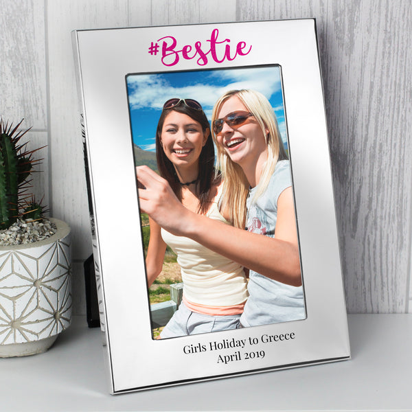 Personalised #Bestie 6x4 Silver Photo Frame lifestyle image
