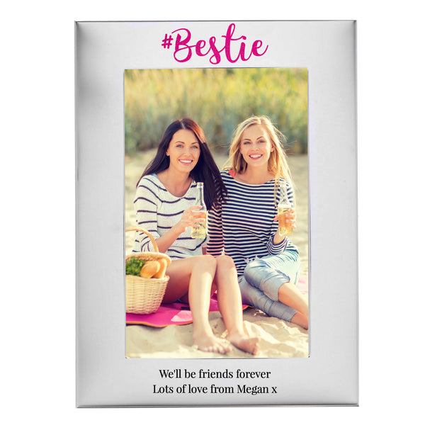 Personalised #Bestie 6x4 Silver Photo Frame with personalised name
