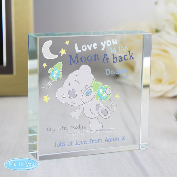 Personalised Tiny Tatty Teddy To the Moon & Back Large Crystal Token white background
