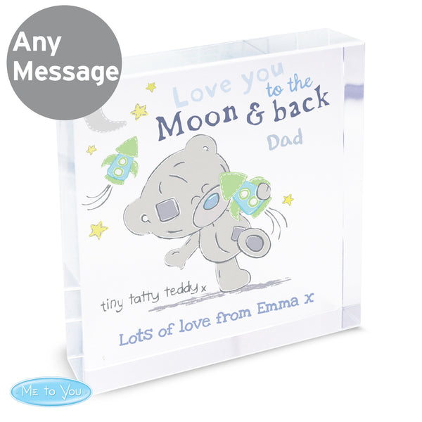 Personalised Tiny Tatty Teddy To the Moon & Back Large Crystal Token from Sassy Bloom Gifts - alternative view