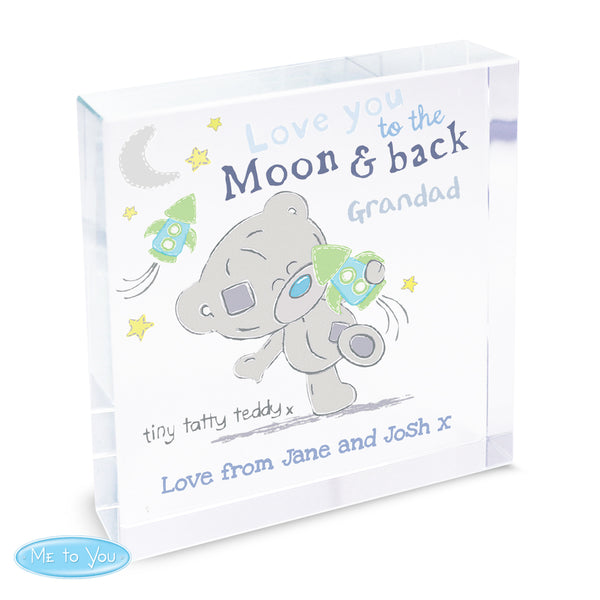 Personalised Tiny Tatty Teddy To the Moon & Back Large Crystal Token lifestyle image
