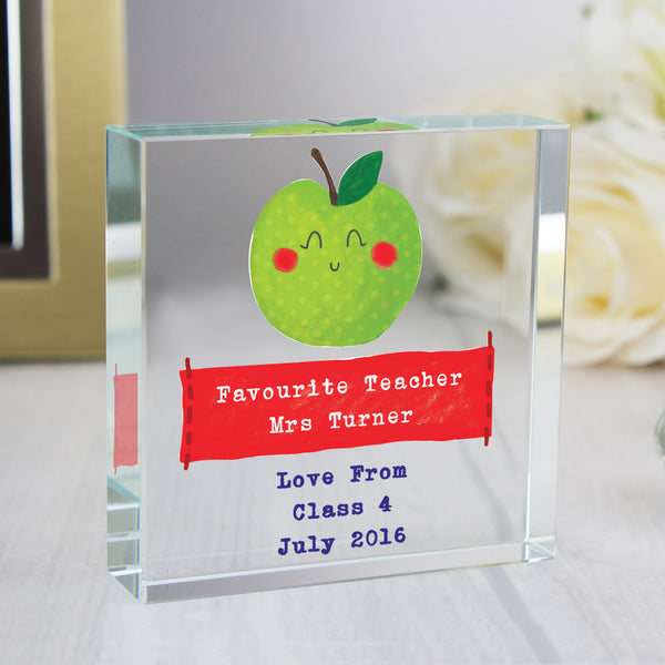 Personalised Apple for the Teacher Large Crystal Token with personalised name