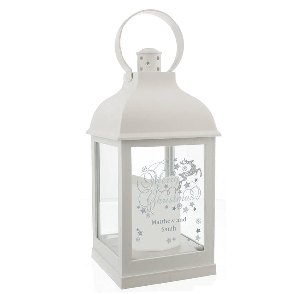 Personalised Silver Reindeer White Lantern white background