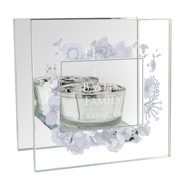 Personalised Soft Watercolour Mirrored Glass Tea Light Holder white background