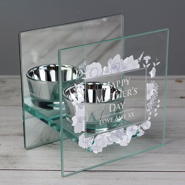 Personalised Soft Watercolour Mirrored Glass Tea Light Holder from Sassy Bloom Gifts - alternative view