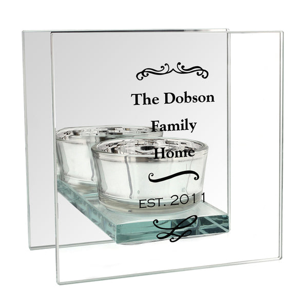 Personalised Antique Scroll Mirrored Glass Tea Light Holder white background