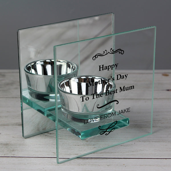 Personalised Antique Scroll Mirrored Glass Tea Light Holder from Sassy Bloom Gifts - alternative view